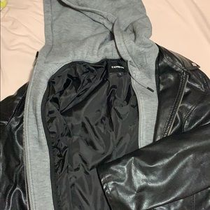 EXPRESS vegan leather jacket with hoodie seam NWOT